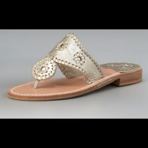 Jack Rogers Thong Metallic Leather Sandals Size 5